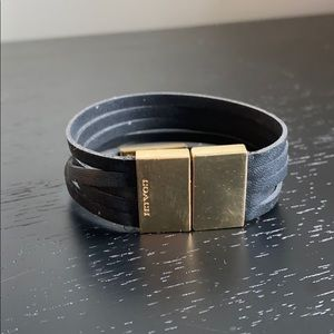 Black and gold leather coach bracelet